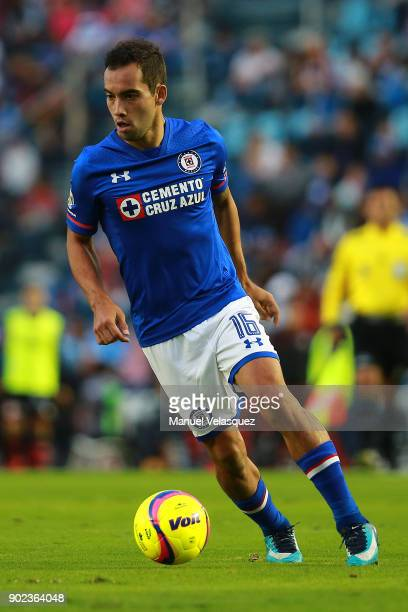 Adrian Aldrete of Cruz Azul drives the ball during the first round match between Cruz Azul and Tijuana as part of the Torneo Clausura 2018 Liga MX at...