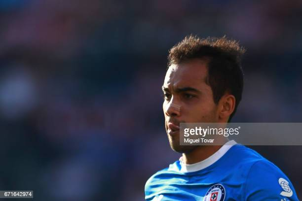 Adrian Aldrete of Cruz Azul gestures during the 15th round match between Cruz Azul and Chivas as part of the Torneo Clausura 2017 Liga MX at Azul...