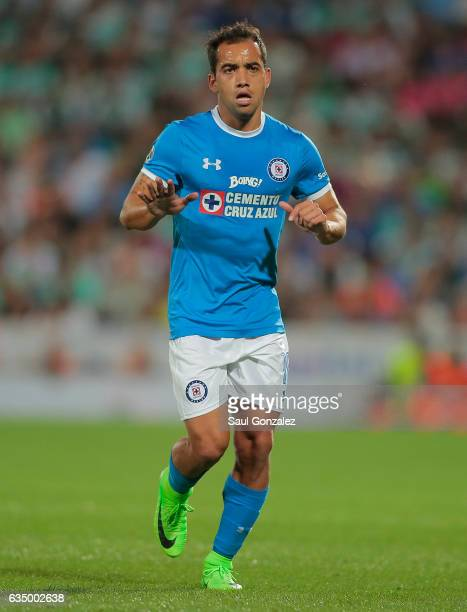 Adrian Aldrete of Cruz Azul gestures during the 6th round match between Santos Laguna and Cruz Azul as part of the Torneo Clausura 2017 Liga MX at...