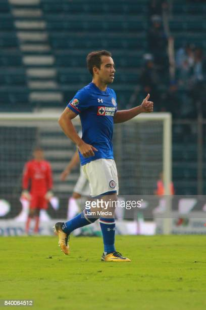 Adrian Aldrete of Cruz Azul gestures during the seventh round match between Cruz Azul and Monterrey as part of the Torneo Apertura 2017 Liga MX at...