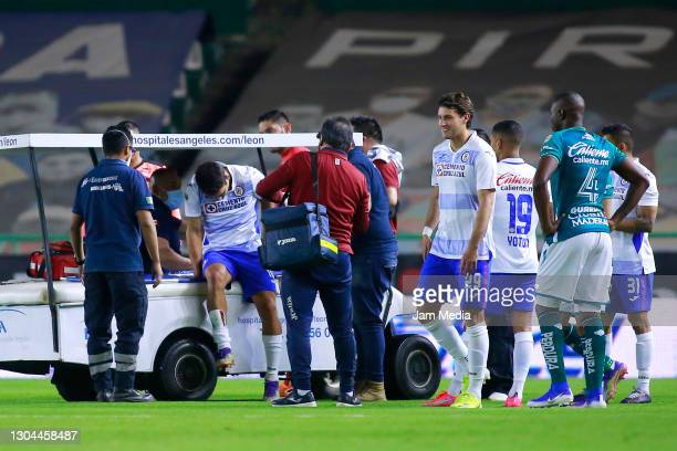 Adrian Aldrete of Cruz Azul gets injured during the 8th round match between Leon and Cruz Azul as part of the Torneo Guard1anes 2021 Liga MX at Leon...