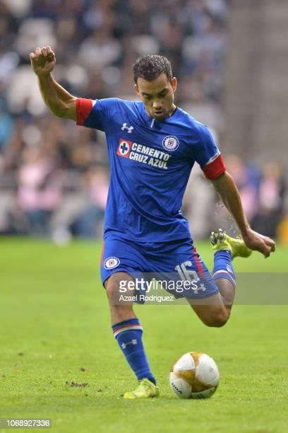 Adrian Aldrete of Cruz Azul kicks the ball during the semifinal first leg match between Monterrey and Cruz Azul as part of the Torneo Apertura 2018...