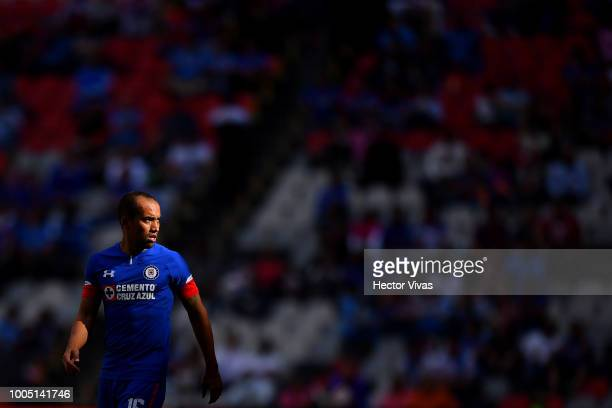 Adrian Aldrete of Cruz Azul looks on during the 1st round match between Cruz Azul and Puebla as part of the Torneo Apertura 2018 Liga MX at Azteca...