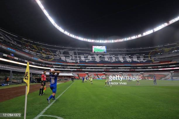 Adrian Aldrete of Cruz Azul passes the ball during the 10th round match between America and Cruz Azul as part of the Torneo Clausura 2020 Liga MX at...