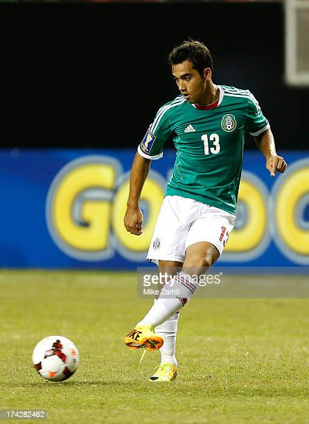 Adrian Aldrete of Mexico passes the ball during the CONCACAF Gold Cup quarterfinal game against Trinidad Tobago at the Georgia Dome on July 20 2013...