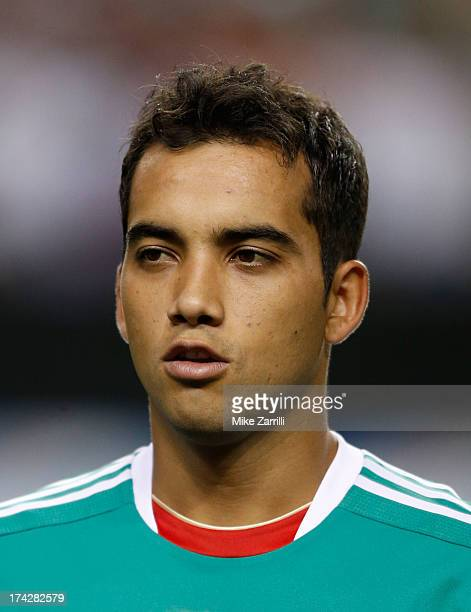 Adrian Aldrete of Mexico pauses for the national anthem before the CONCACAF Gold Cup quarterfinal game against Trinidad Tobago at the Georgia Dome on...
