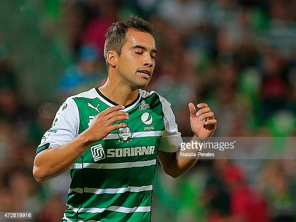 Adrian Aldrete of Santos gestures during a match between Santos Laguna and Puebla as part of 17th round of Clausura 2015 Liga MX at Corona Stadium on...