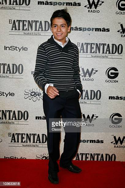 Adrian Alonso poses for a photo at the red carpet of the movie El Atentado at Teatro Metropolitan on August 24 2010 in Mexico City Mexico