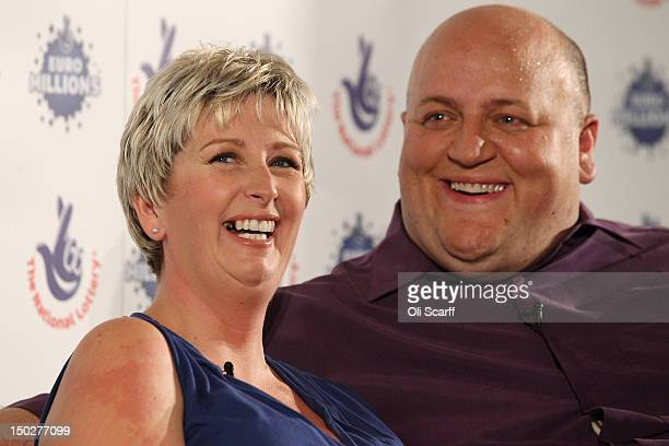 Adrian and Gillian Bayford celebrate winning the jackpot of over 148 million GBP in the EuroMillions lottery on August 14, 2012 in Hatfield Heath,...