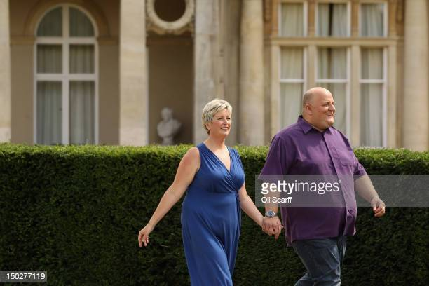 Adrian and Gillian Bayford celebrate winning the jackpot of over 148 million GBP in the EuroMillions lottery on August 14 2012 in Hatfield Heath...