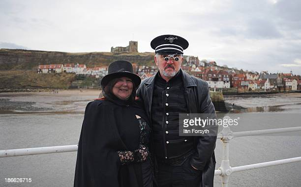Adrian and Teresa Dingley from the Isle of Wight dress in a steampunk style as they take part in the Goth weekend on November 2 2013 in Whitby...