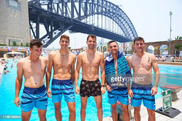 Adrian Andreev, Alexandar Lazarov, Dimitar Kuzmanov, Grigor Dimitrov and Alexander Donski of Team Bulgaria pose at North Sydney Pool ahead of the...