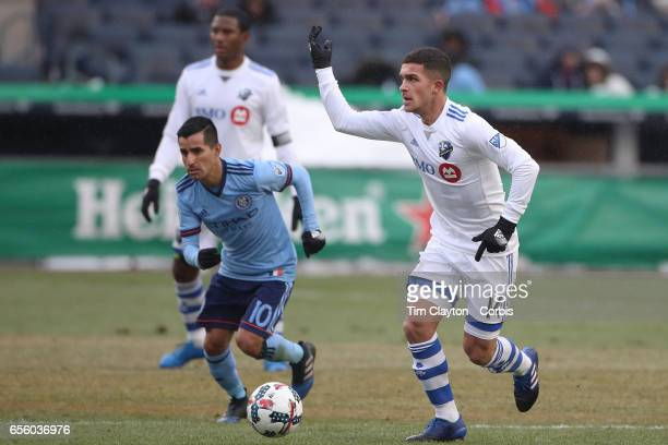 Adrian Arregui of Montreal Impact in action during the New York City FC Vs Montreal Impact regular season MLS game at Yankee Stadium on March 18 2017...