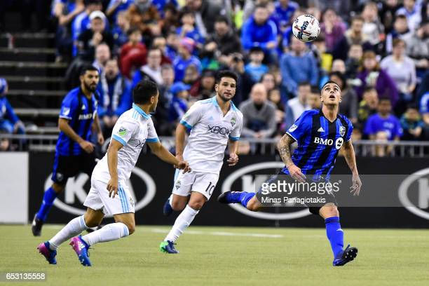 Adrian Arregui of the Montreal Impact runs after the ball during the MLS game against the Seattle Sounders FC at Olympic Stadium on March 11 2017 in...