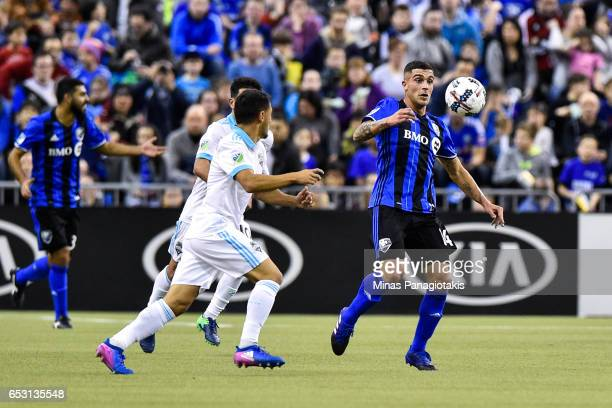 Adrian Arregui of the Montreal Impact tries to control the ball during the MLS game against the Seattle Sounders FC at Olympic Stadium on March 11...