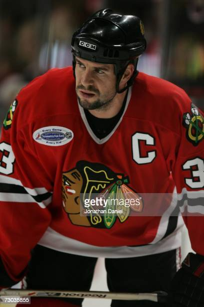Adrian Aucoin of the Chicago Blackhawks looks on during warmups before the game against the Nashville Predators on January 5 2007 at the United...