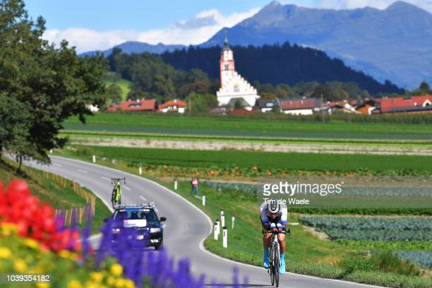 Adrian Babic of Slovakia / Landscape / Mountains / Church / during the Individual Time Trial Men Under 23 a 278km race from Wattens to Innsbruck 582m...