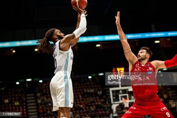 Adrian Banks shoots a layup during a basketball game of LBA between A|X Armani Exchange Milano v Happy Casa Brindisi at Mediolanum Forum Assago, in...