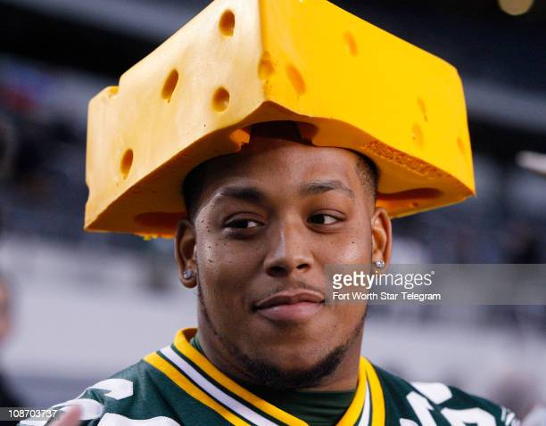 Adrian Battles of the Green Bay Packers wears a cheesehead hat during media day at Cowboys Stadium Tuesday February 1 2011 in Arlington Texas The...