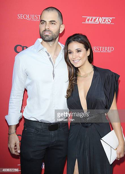 Adrian Bellani and Emmanuelle Chriqui arrive at the Crackle Original Series' 'Cleaners' and 'Sequestered' Summer premiere celebration held at 1 OAK...