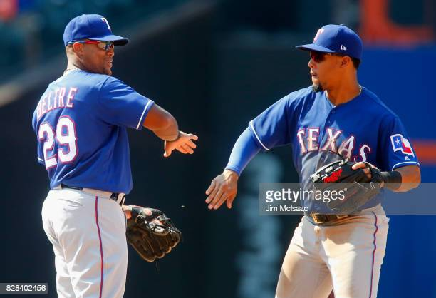 Adrian Beltre and Carlos Gomez of the Texas Rangers celebrate after defeating the New York Mets at Citi Field on August 9 2017 in the Flushing...