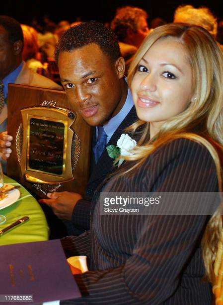 Adrian Beltre and wife during 15th Annual RBI Hall of Fame Dinner at The Globe Theater at Universal Studios in Universal City, California, United...