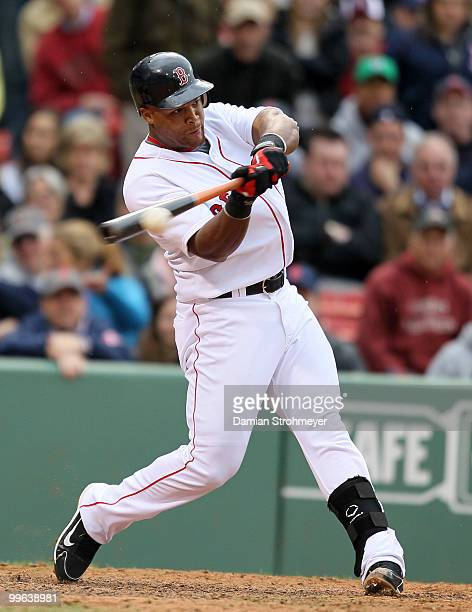 Adrian Beltre of the Boston Red Sox belts an RBI single in the 9th inning during the game between the Toronto Blue Jays and the Boston Red Sox on...