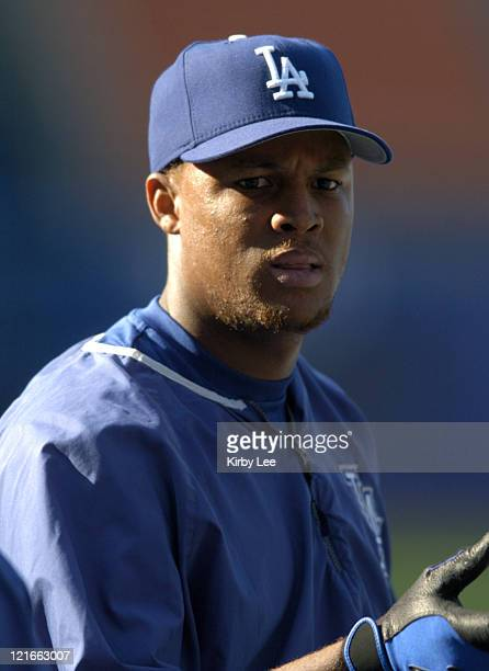 Adrian Beltre of the Los Angeles Dodgers during batting practice before game against the Chicago Cubs at Dodger Stadium on Tuesday, May 11, 2004.