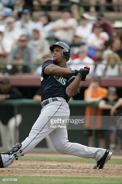 Adrian Beltre of the Seattle Mariners bats during the Spring Training game against the San Francisco Giants at Scottsdale Stadium on March 18 2005 in...