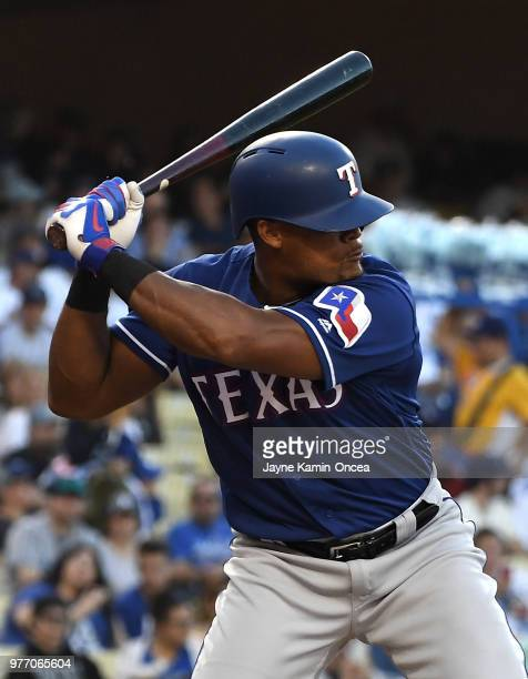 Adrian Beltre of the Texas Rangers at bat in the game against the Los Angeles Dodgers at Dodger Stadium on June 13 2018 in Los Angeles California