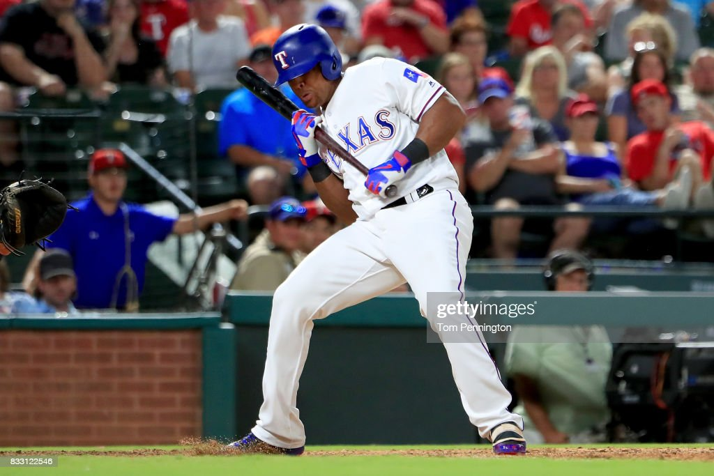 Adrian Beltre #29 of the Texas Rangers backs off a pitch against the Detroit Tigers in the bottom of the sixth inning at Globe Life Park in Arlington on August 16, 2017 in Arlington, Texas.