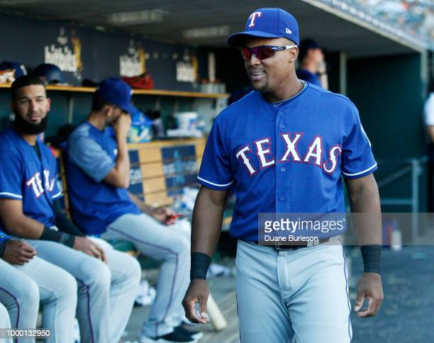 Adrian Beltre of the Texas Rangers during a game against the Detroit Tigers at Comerica Park on July 7 2018 in Detroit Michigan
