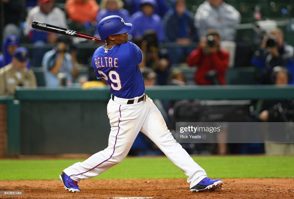 Adrian Beltre #29 of the Texas Rangers hits a double RBI in the seventh inning against the Toronto Blue Jays at Globe Life Park in Arlington on April 6, 2018 in Arlington, Texas.