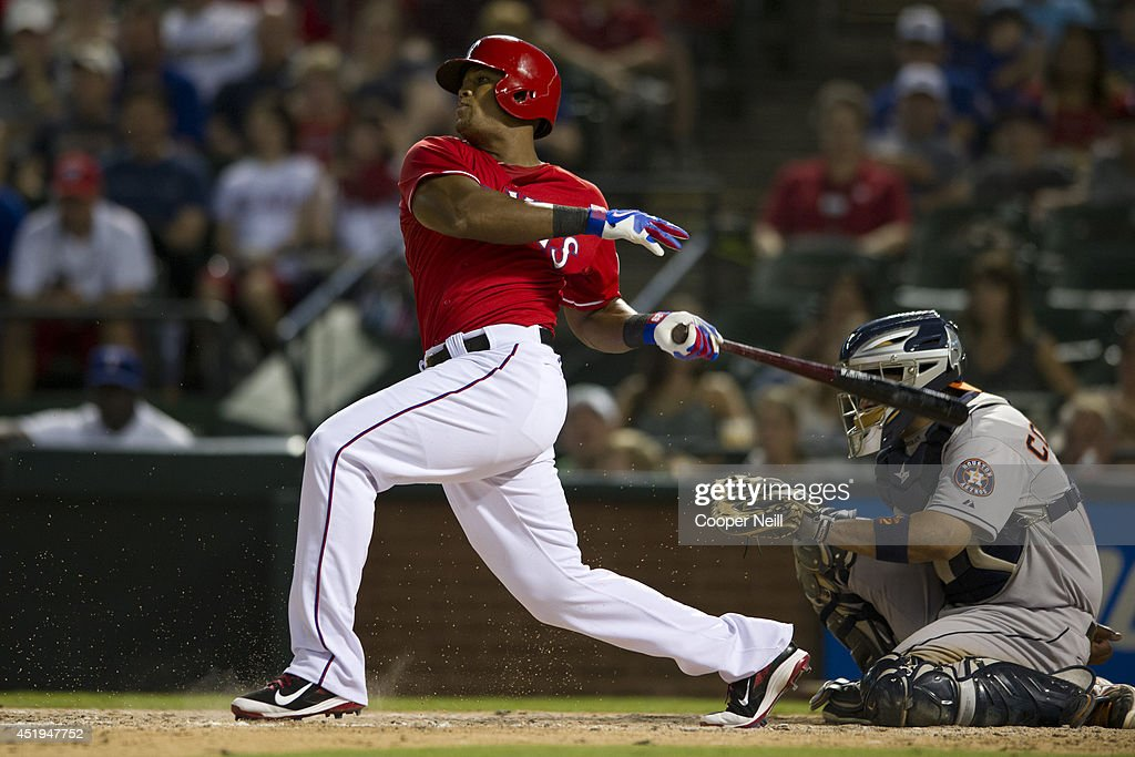 Adrian Beltre #29 of the Texas Rangers hits a single during the eighth inning against the Houston Astros on July 9, 2014 at Globe Life Park in Arlington in Arlington, Texas.