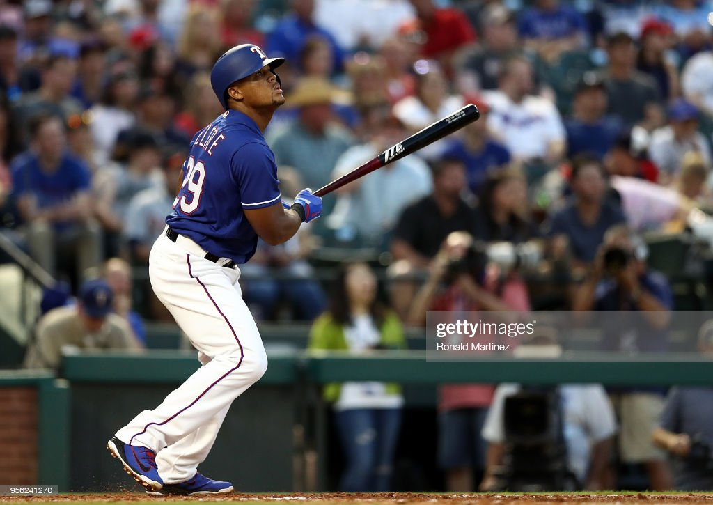 Adrian Beltre #29 of the Texas Rangers hits a single in the fourth inning against the Detroit Tigers at Globe Life Park in Arlington on May 8, 2018 in Arlington, Texas.
