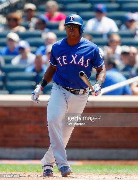 Adrian Beltre of the Texas Rangers in action against the New York Mets at Citi Field on August 9 2017 in the Flushing neighborhood of the Queens...