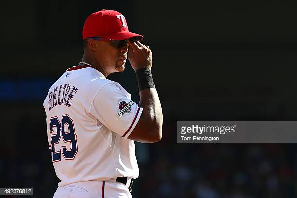 Adrian Beltre of the Texas Rangers is seen playing third base in the fourth inning against the Toronto Blue Jays in game four of the American League...
