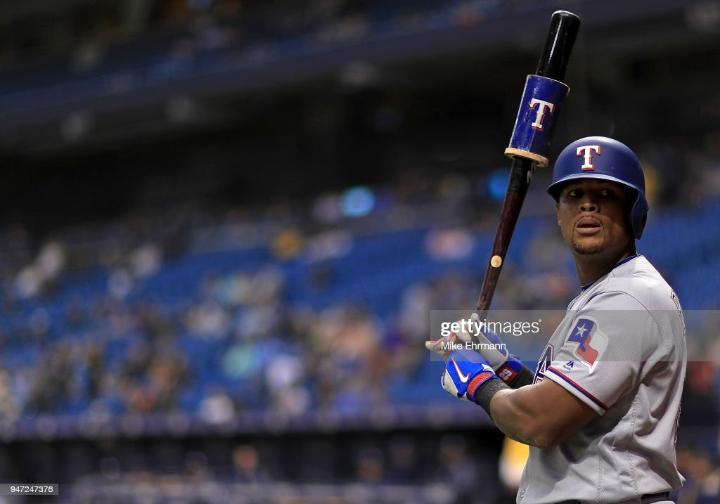 Adrian Beltre #29 of the Texas Rangers looks on in the seventh inning during a game against the Tampa Bay Rays at Tropicana Field on April 16, 2018 in St Petersburg, Florida.