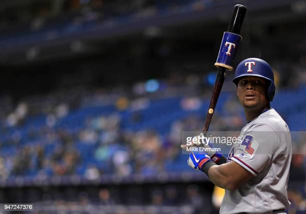 Adrian Beltre of the Texas Rangers looks on in the seventh inning during a game against the Tampa Bay Rays at Tropicana Field on April 16 2018 in St...
