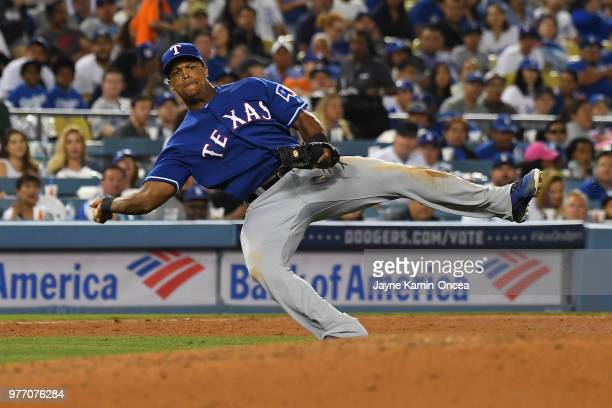 Adrian Beltre of the Texas Rangers makes a play for an out at first in the game against the Los Angeles Dodgers at Dodger Stadium on June 13 2018 in...