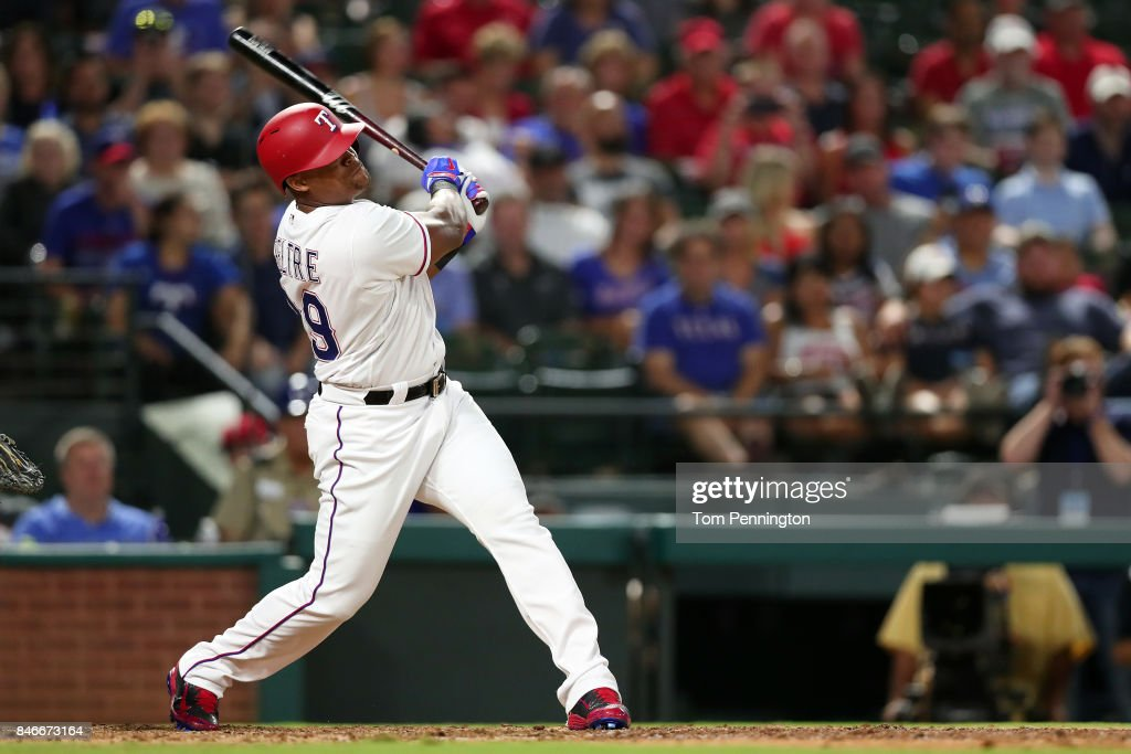 Adrian Beltre #29 of the Texas Rangers pinch-hits for Willie Calhoun #55 of the Texas Rangers against the Seattle Mariners in the bottom of the sixth inning at Globe Life Park in Arlington on September 13, 2017 in Arlington, Texas.