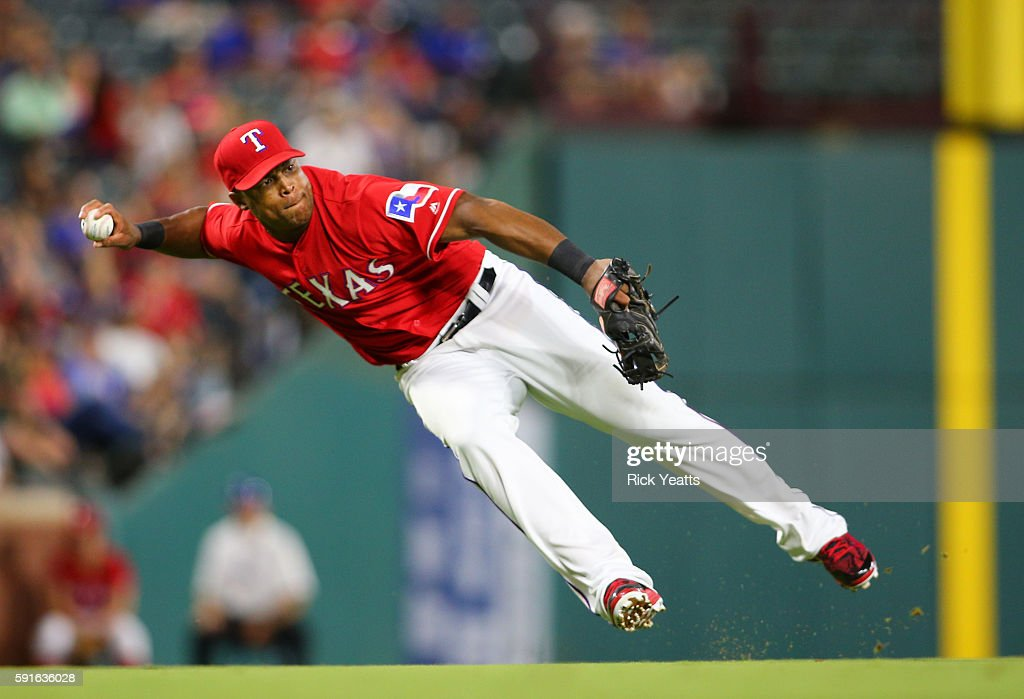 Adrian Beltre #29 of the Texas Rangers throws out the runner on first base against the Oakland Athletics at Globe Life Park in Arlington on August 17, 2016 in Arlington, Texas.