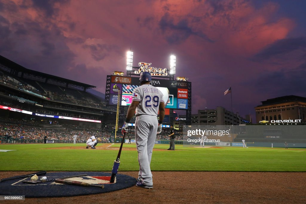 Adrian Beltre #29 of the Texas Rangers waits to bat in the fifth inning while playing the Detroit Tigers at Comerica Park on July 5, 2018 in Detroit, Michigan.