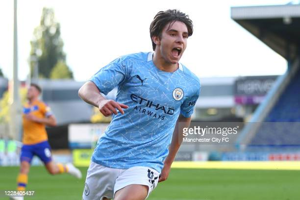 Adrian Bernabe of Manchester City celebrates scoring the opening goal during the EFL Trophy match between Mansfield Town and Manchester City U21 at...
