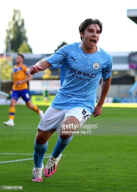Adrian Bernabe of Manchester City celebrates scoring their 1st goal during the EFL Trophy match between Mansfield Town and Manchester City U21 at One...