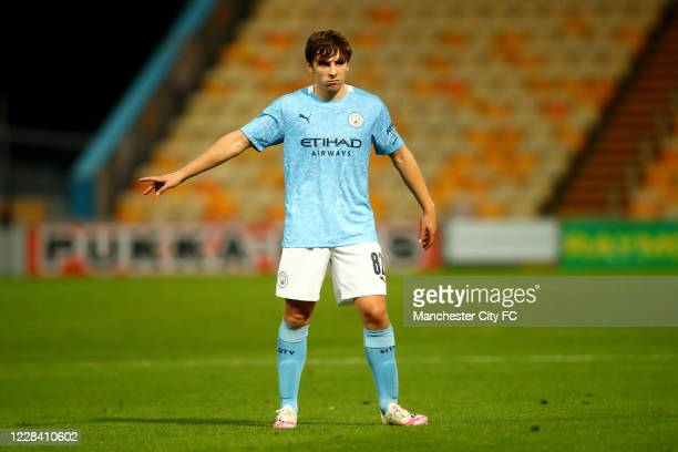 Adrian Bernabe of Manchester City during the EFL Trophy match between Mansfield Town and Manchester City U21 at One Call Stadium on September 8, 2020...