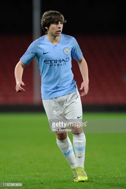 Adrian Bernabe of Manchester City runs off the ball during the FA Youth Cup Sixth Round Match between AFC Bournemouth U18 and Manchester City U18 at...