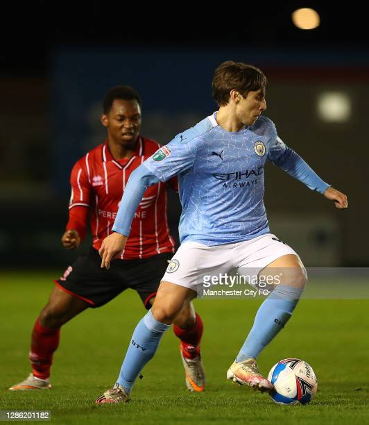 Adrian Bernabe of Manchester City U21 in action during the EFL Trophy match between Lincoln City and Manchester City U21 at Sincil Bank Stadium on...
