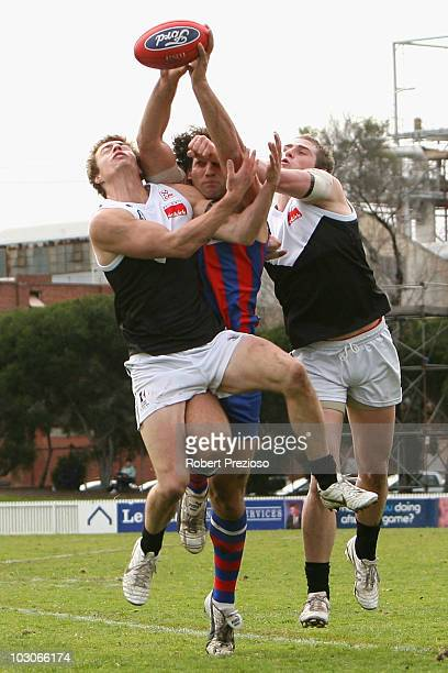 Adrian Bonaddio of Port Melbourne attempts to mark during the round 14 VFL match between Port Melbourne and North Ballarat at TEAC Oval on July 24...