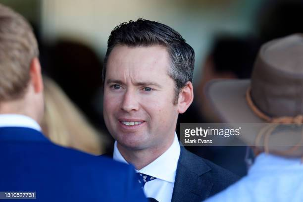 Adrian Bott looks on after winning race 3 the Signace Tulloch Stakes with Yaletown during Sydney Racing at Rosehill Gardens on April 03, 2021 in...